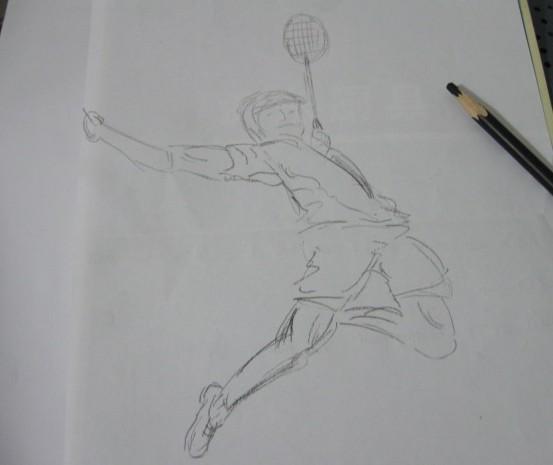 羽毛球铅笔画